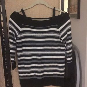 The Limited Sweater. Black and white stripe.